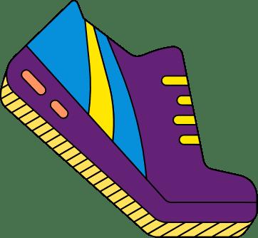 Logo chaussure violette.