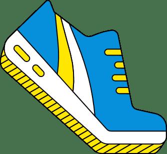 Logo chaussure bleu.