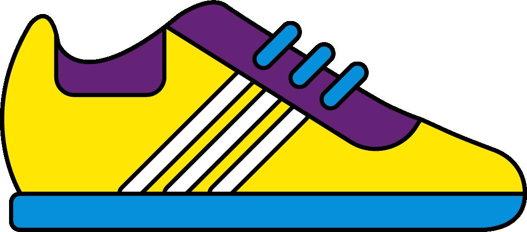 Dessin d'une chaussure correspondant à une course de la Pop'Up Run.